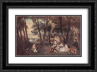 Entertainment countryside 24x18 Black or Gold Ornate Framed and Double Matted Art Print by Antoine Watteau