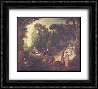 Feast in Park 22x20 Black or Gold Ornate Framed and Double Matted Art Print by Antoine Watteau