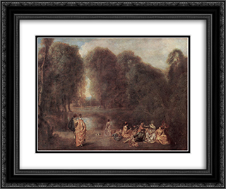 Gathering in the Park 24x20 Black or Gold Ornate Framed and Double Matted Art Print by Antoine Watteau