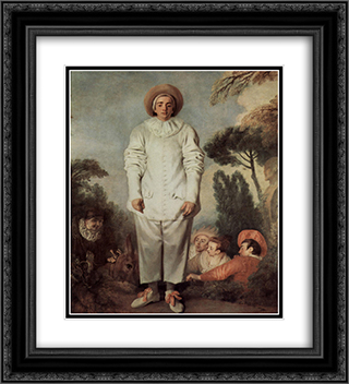 Gilles 20x22 Black or Gold Ornate Framed and Double Matted Art Print by Antoine Watteau