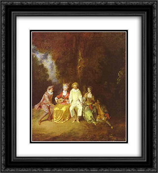 Happy Pierrot 20x22 Black or Gold Ornate Framed and Double Matted Art Print by Antoine Watteau
