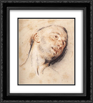 Head of a Man 20x22 Black or Gold Ornate Framed and Double Matted Art Print by Antoine Watteau