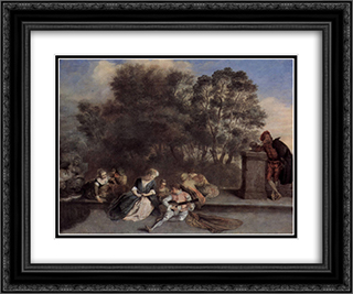 Italian Recreation 24x20 Black or Gold Ornate Framed and Double Matted Art Print by Antoine Watteau