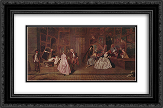 L'Enseigne de Gersaint 24x16 Black or Gold Ornate Framed and Double Matted Art Print by Antoine Watteau