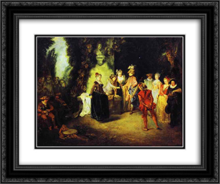 Love in the French Theather 24x20 Black or Gold Ornate Framed and Double Matted Art Print by Antoine Watteau