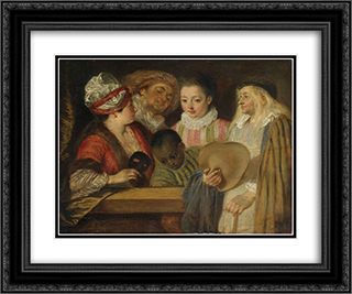 Maskerade 24x20 Black or Gold Ornate Framed and Double Matted Art Print by Antoine Watteau