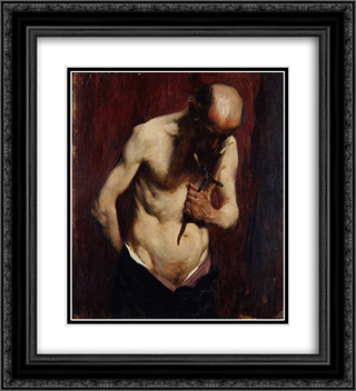 Hermit 20x22 Black or Gold Ornate Framed and Double Matted Art Print by Anton Azbe