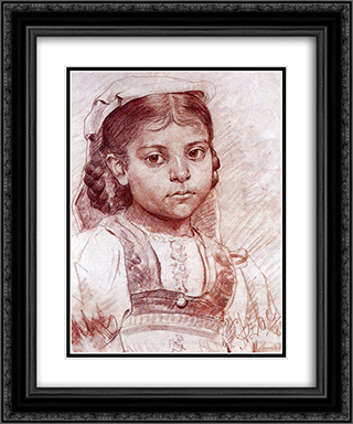 Portrait of a Dalmatian girl 20x24 Black or Gold Ornate Framed and Double Matted Art Print by Anton Azbe