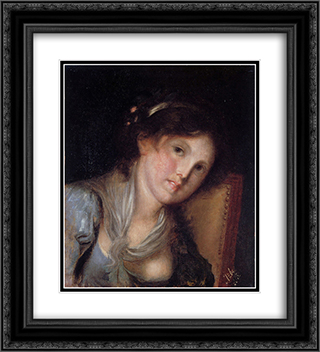 Portrait of a girl 20x22 Black or Gold Ornate Framed and Double Matted Art Print by Anton Azbe