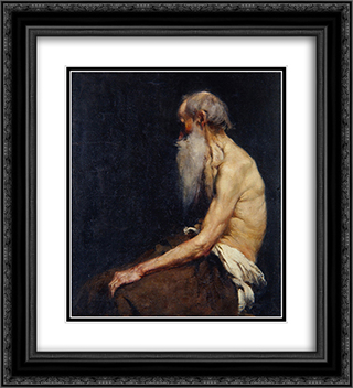 Sitting old man nude 20x22 Black or Gold Ornate Framed and Double Matted Art Print by Anton Azbe