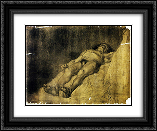 Study of a man 24x20 Black or Gold Ornate Framed and Double Matted Art Print by Anton Azbe