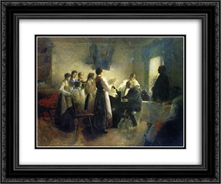 The Village Choir 24x20 Black or Gold Ornate Framed and Double Matted Art Print by Anton Azbe