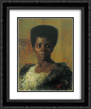 Zamorka (Black Girl) 20x24 Black or Gold Ornate Framed and Double Matted Art Print by Anton Azbe