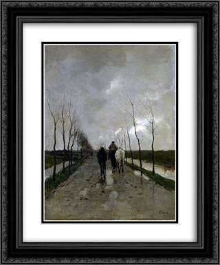 A Dutch Road 20x24 Black or Gold Ornate Framed and Double Matted Art Print by Anton Mauve
