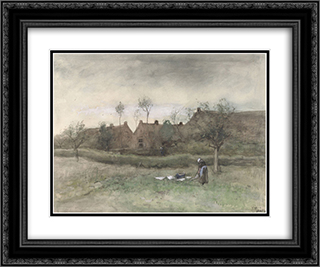 Bleekveldje 24x20 Black or Gold Ornate Framed and Double Matted Art Print by Anton Mauve