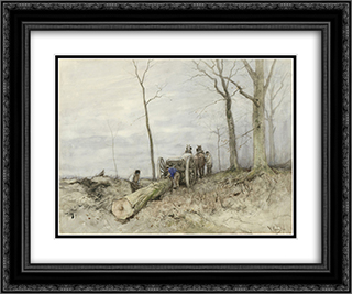 De mallejan 24x20 Black or Gold Ornate Framed and Double Matted Art Print by Anton Mauve