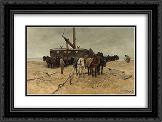 Fishing boat on the beach 24x18 Black or Gold Ornate Framed and Double Matted Art Print by Anton Mauve