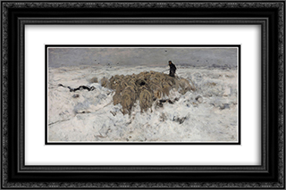 Flock of sheep with shepherd in the snow 24x16 Black or Gold Ornate Framed and Double Matted Art Print by Anton Mauve