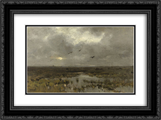 Het moeras 24x18 Black or Gold Ornate Framed and Double Matted Art Print by Anton Mauve