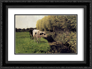 Koeien aan een sloot 24x18 Black or Gold Ornate Framed and Double Matted Art Print by Anton Mauve
