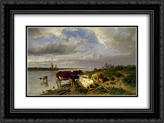 Landscape with Cattle 24x18 Black or Gold Ornate Framed and Double Matted Art Print by Anton Mauve