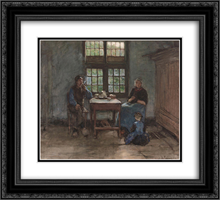 Larens binnenhuis 22x20 Black or Gold Ornate Framed and Double Matted Art Print by Anton Mauve