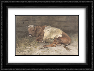 Liggende jonge stier 24x18 Black or Gold Ornate Framed and Double Matted Art Print by Anton Mauve