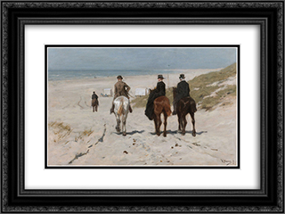Morning Ride on the Beach 24x18 Black or Gold Ornate Framed and Double Matted Art Print by Anton Mauve