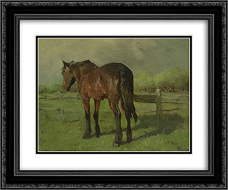 Paard 24x20 Black or Gold Ornate Framed and Double Matted Art Print by Anton Mauve
