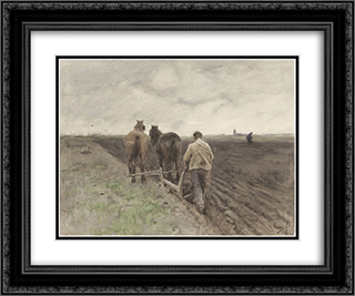 Ploegende boer 24x20 Black or Gold Ornate Framed and Double Matted Art Print by Anton Mauve