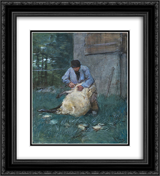 Schapenscheerder 20x22 Black or Gold Ornate Framed and Double Matted Art Print by Anton Mauve
