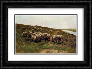 Sheep on a dyke 24x18 Black or Gold Ornate Framed and Double Matted Art Print by Anton Mauve