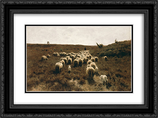 The Return of the Flock, Laren 24x18 Black or Gold Ornate Framed and Double Matted Art Print by Anton Mauve