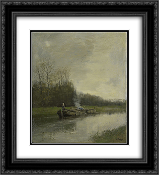 Trekvaart 20x22 Black or Gold Ornate Framed and Double Matted Art Print by Anton Mauve