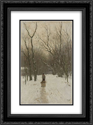 Winter in de Scheveningse bosjes 18x24 Black or Gold Ornate Framed and Double Matted Art Print by Anton Mauve