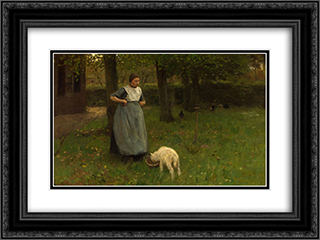 Woman from Laren with lamb 24x18 Black or Gold Ornate Framed and Double Matted Art Print by Anton Mauve