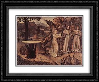 Abraham Served by Three Angels 24x20 Black or Gold Ornate Framed and Double Matted Art Print by Antonello da Messina