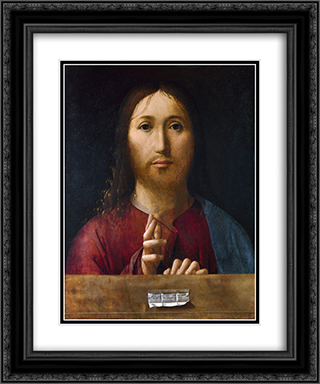 Christ Blessing 20x24 Black or Gold Ornate Framed and Double Matted Art Print by Antonello da Messina