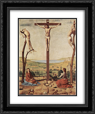 Crucifixion 20x24 Black or Gold Ornate Framed and Double Matted Art Print by Antonello da Messina