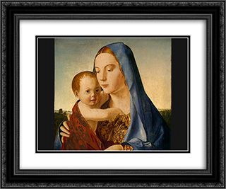 Madonna and Child 24x20 Black or Gold Ornate Framed and Double Matted Art Print by Antonello da Messina