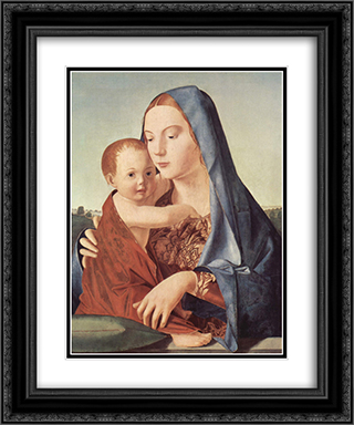 Madonna and Child (Madonna Benson) 20x24 Black or Gold Ornate Framed and Double Matted Art Print by Antonello da Messina