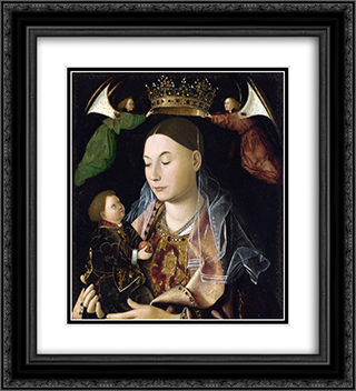 Madonna and Child (Salting Madonna) 20x22 Black or Gold Ornate Framed and Double Matted Art Print by Antonello da Messina
