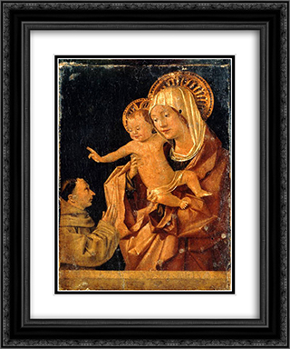Madonna and Child with a Praying Franciscan Donor 20x24 Black or Gold Ornate Framed and Double Matted Art Print by Antonello da Messina