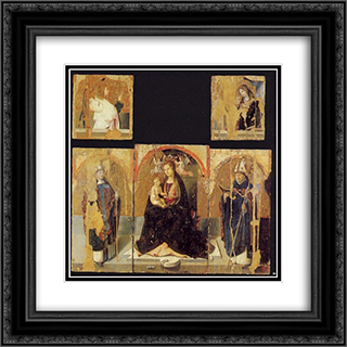 Polyptych with St. Gregory 20x20 Black or Gold Ornate Framed and Double Matted Art Print by Antonello da Messina