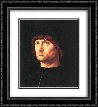 Portrait of a Man (The Condottiero) 20x22 Black or Gold Ornate Framed and Double Matted Art Print by Antonello da Messina
