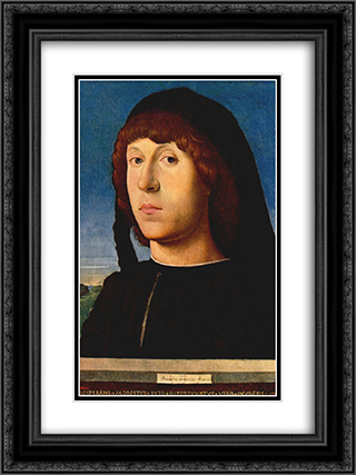 Portrait of a Young Man 18x24 Black or Gold Ornate Framed and Double Matted Art Print by Antonello da Messina