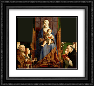 San Cassiano Altarpiece 22x20 Black or Gold Ornate Framed and Double Matted Art Print by Antonello da Messina