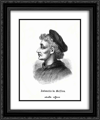 Self-portrait 20x24 Black or Gold Ornate Framed and Double Matted Art Print by Antonello da Messina