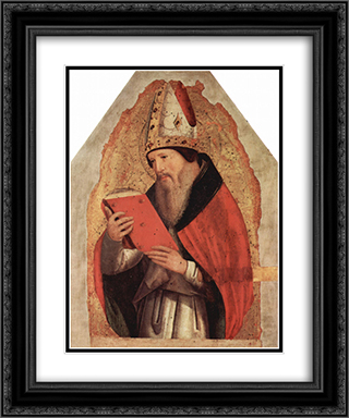 St. Augustine 20x24 Black or Gold Ornate Framed and Double Matted Art Print by Antonello da Messina