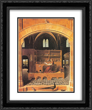 St. Jerome in His Study 20x24 Black or Gold Ornate Framed and Double Matted Art Print by Antonello da Messina